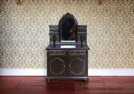 Dark Wood Mirrored Dressing Table