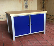 Modern Blue Kitchen Island With Doors On Both Sides