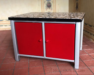 Modern Red Kitchen Island With Doors On Both Sides