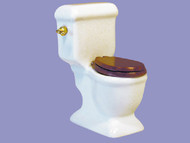 Porcelain Toilet / Lavatory With Brown Seat