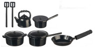 Black Metal Kitchenware Pots & Pans Set