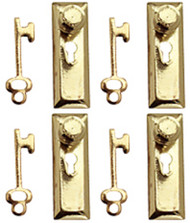 24th Scale Door Knob & Plate With Keys 6 Pack Gold