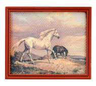 Horses Picture In Brown Frame