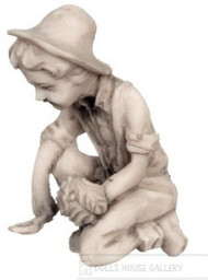 Grey Young Boy Garden Statue