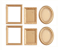 6 Assorted Golden Picture Frames