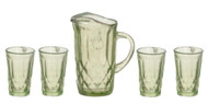 Green Pitcher & Four Glasses, Part Assemble Required