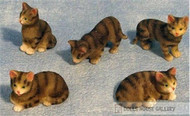 Set Of 5 Tabby Cats