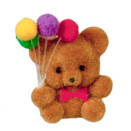 Flocked Teddy Bear w/ Balloons