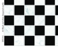 A3 Black & White Chequered Marble Floor Card