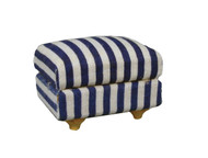 Blue & White Striped Cushioned Footstool