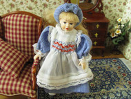 Heidi Ott Doll Young Girl In Blue Dress & Hair Band