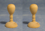 Two Small Wooden Hat / Wig Stands