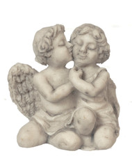 Grey Cuddling Cherubs Ornament