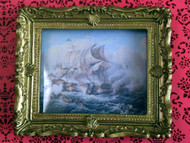 Battle At Sea Picture In Ornate Golden Frame