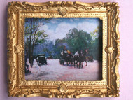 Vintage French Scene Picture In Ornate Golden Frame
