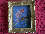 Cherub Picture In Ornate Golden Frame