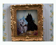 Terriers Picture In Ornate Golden Frame