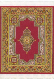Large Woven Rug Gold Red 25cm x 18cm