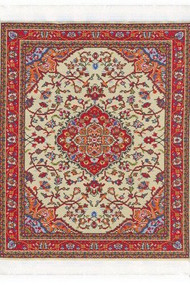 Large Woven Rug Cream Red 25cm x 18cm