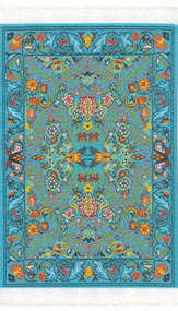 Small Woven Rug Turquoise 15cm x 10cm