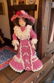 Edwardian Doll In Beautifully Detailed Hand knitted Outfit.