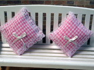 Pair of Cushions Pink Gingham