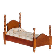 Wooden Single Bed In Walnut Finish