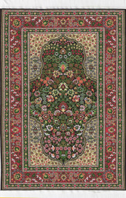 Medium Woven Turkish Rug Reds Greens 25cm x 15cm