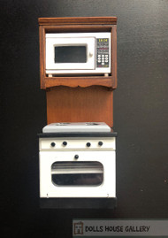 Oven With Microwave & Walnut Shelf