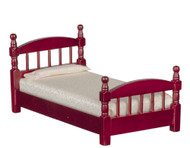 Wooden Single Bed In Mahogany Finish