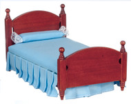 Blue Single Bed In Mahogany Finish
