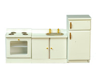White Kitchen Set, Oven Fridge & Sink Unit