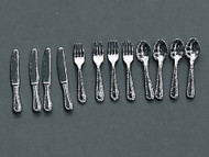 Detailed Silver Cutlery Set