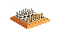 Oak Chessboard With Drawer & Pieces