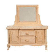 Bare Wood Dresser With Mirror