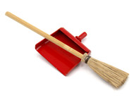 Sweeping Brush & Red Dustpan