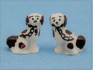 Pair Of Staffordshire Dogs White & Brown (OA52)