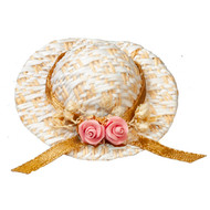 Straw Hat With Pink Flower