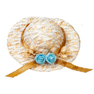 Straw Hat With Blue Flower