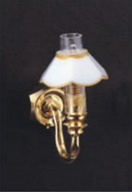 Single Wall Lamp with Gold & White Shade