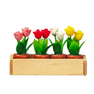 Wooden Window Box With Rose Flowers