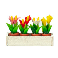 White Wood Window Box With Lillies Flowers