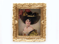 Lady In Large Hat Picture In Ornate Golden Frame