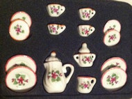 15 Piece Coffee Set With Purple Flowers