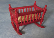 Mahogany Rocking Cot With Spindle Bars