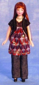 Modern Woman Doll In Smock Dress (Black Hair)