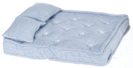 Double Mattress with Pillows Blue & White Striped
