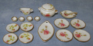 18 Piece Pink Rose Dinner Set