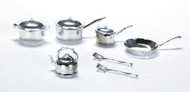Dolls house Kitchenware Pots & Pans Set / 10 Pc