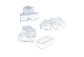"Small Plastic Storage Box, 2"" x 2"" x 3/4"", Item No. 15.132"